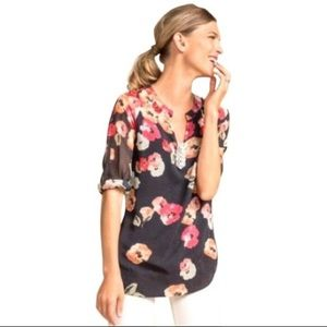 Cabi Poppy Floral Tunic Blouse S